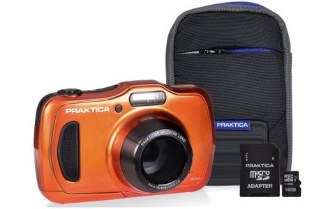 PRAKTICA Luxmedia WP240 Camera Kit inc 16GB MicroSD Card and Case - Orange