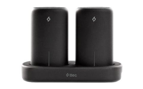 TTEC PowerStones Set-2x 5000mAh Powerbanks Wireless Charging Station-Black