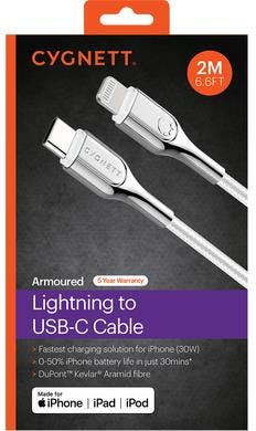 Cygnett Armoured Braided Lightning to USB-C Cable - White, 2m