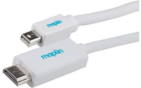 Maplin Premium Mini DisplayPort to HDMI A Male Connector Cable (3m) - White