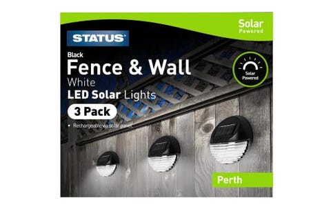 Status Solar LED Wall & Fence Lights - Pack of 3