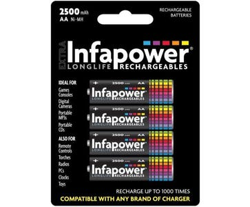 InfaPower Rechargeable Ni-MH AA 2500mAh Batteries (Pack of 4)