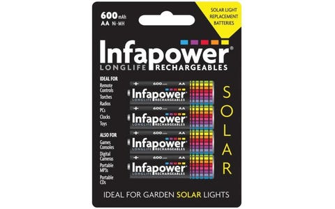 InfaPower Solar Light Rechargeable Ni-MH AA Batteries - Pack of 4