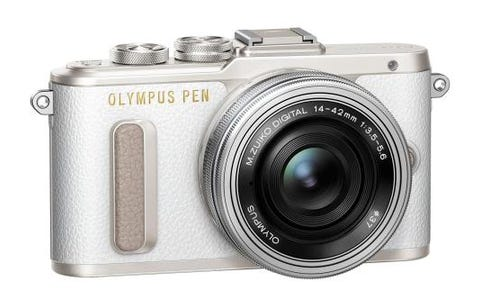 Olympus PEN E-PL8 Camera ED 14-42mm M.Zuiko EZ Pancake Lens Kit - White