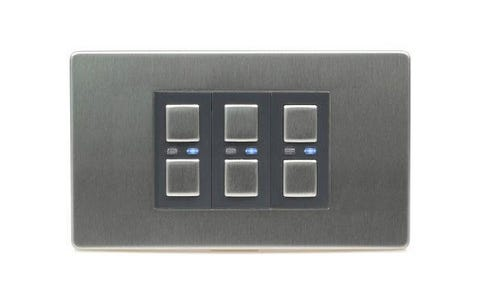 Lightwave Connect Series Dimmer Switch (3 Gang) - Stainless Steel