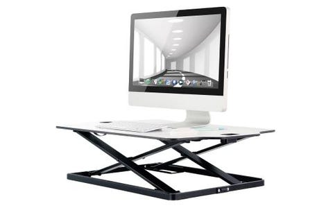 ProperAV Ultra Slim Sit or Stand Up Desktop Workstation - White