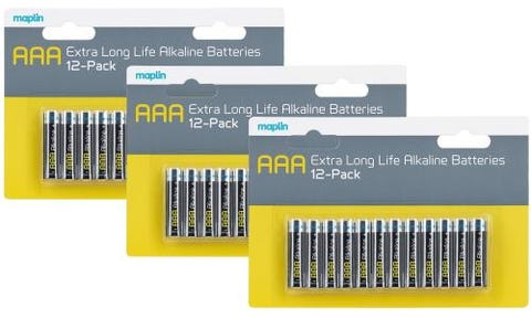 Maplin Extra Long Life High Performance Alkaline AAA Batteries x36 (3x 12 Pack)