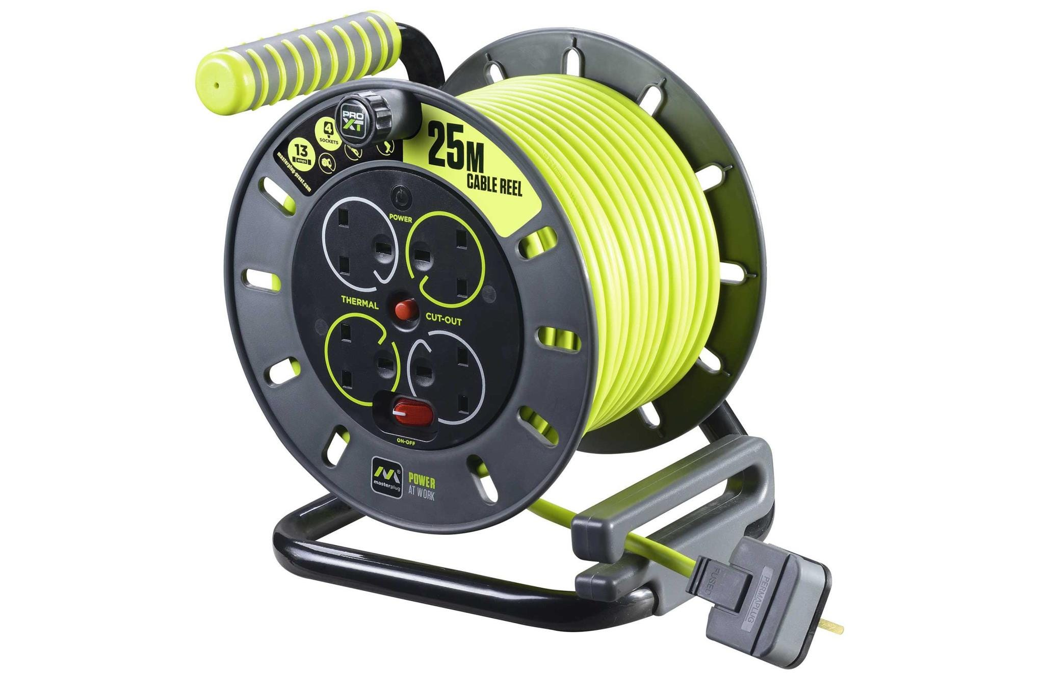 Masterplug 13A 4-Socket Extension Cable Reel - 25m