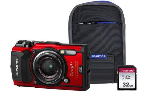Olympus Tough TG-5 (12MP) Compact Digital Camera with 32GB SD Card & Case - Red