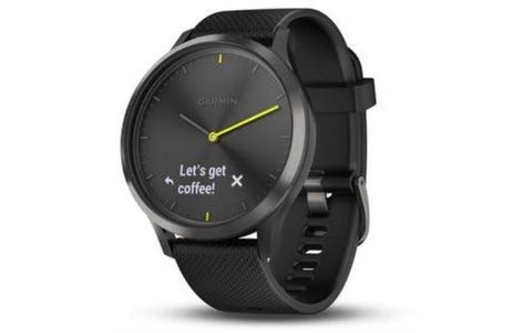 Garmin Vivomove Hybrid Silicone Band with Heart Rate Monitor Smartwatch - Black