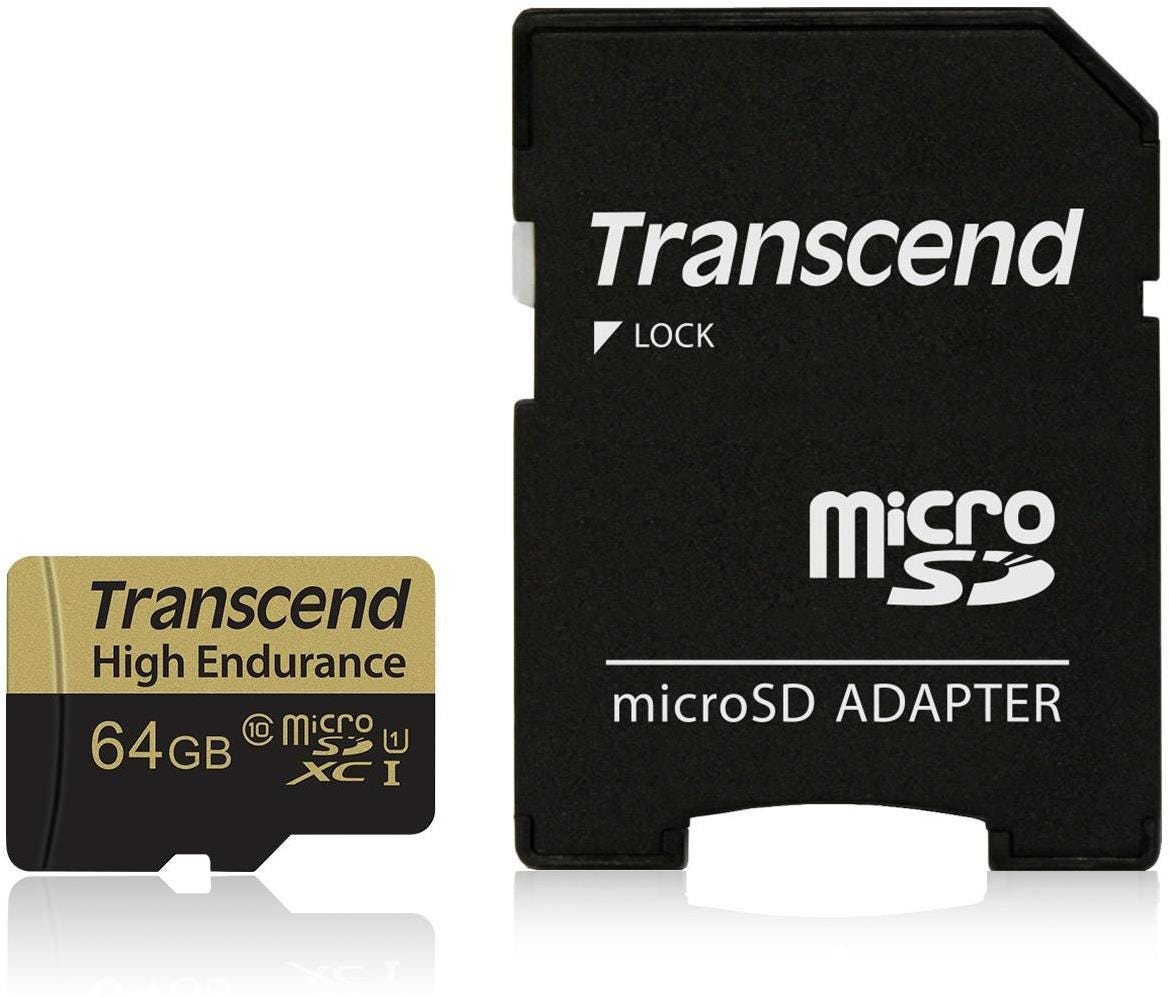 Transcend High Endurance 64 GB UHS-I U1 Class 10 MicroSD Card with Adapter