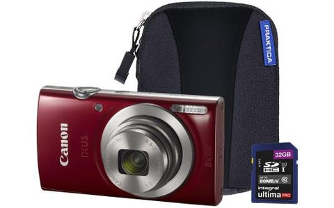 Canon IXUS 185 Camera Kit inc 32GB SD Card and Case - Red