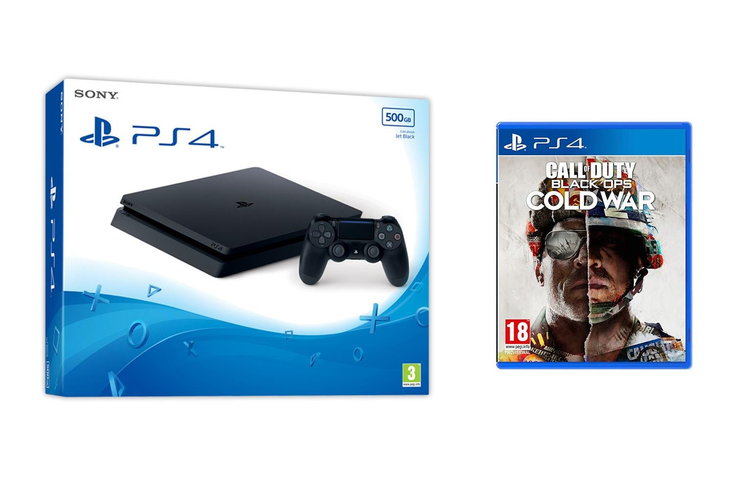 Sony PlayStation 4 500GB Jet Black Console with Call of Duty: Black Ops Cold War