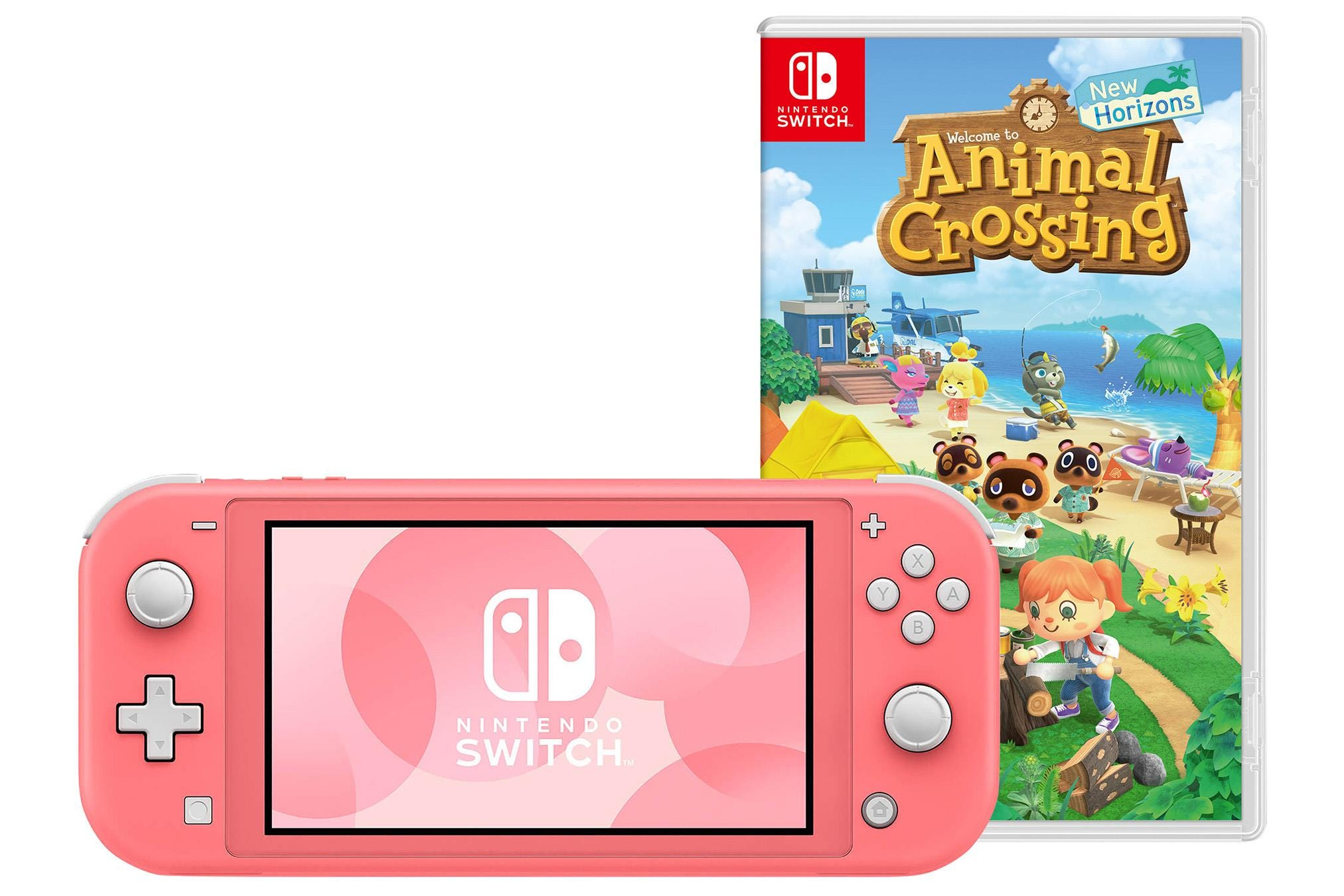 Nintendo Switch Lite Coral Gaming Console inc Animal Crossing Game