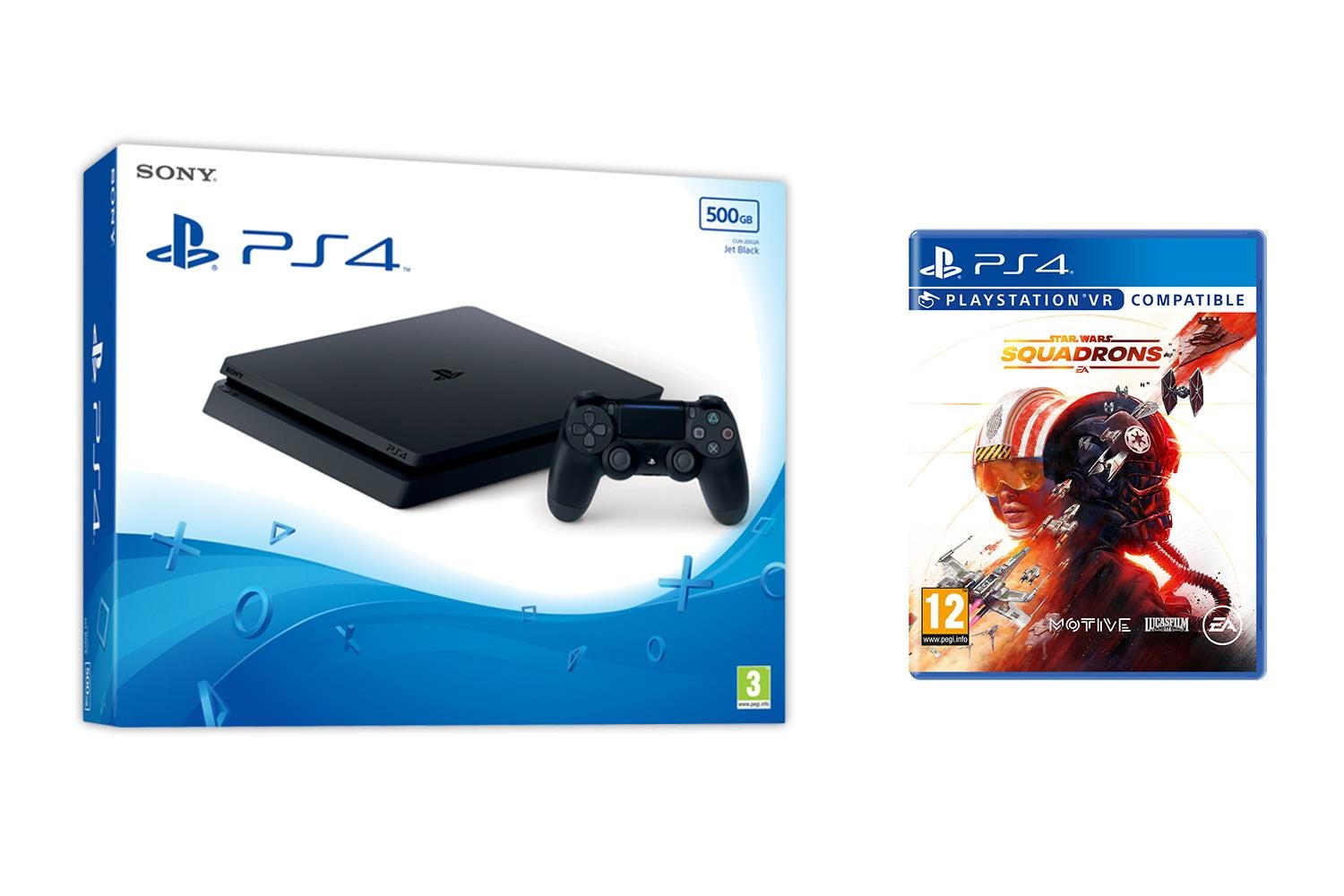 Sony PlayStation 4 500GB Jet Black Console with Star Wars: Squadrons