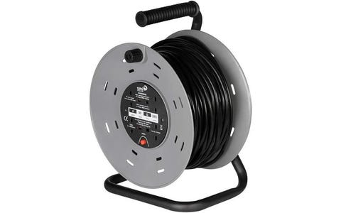 SMJ Electrical 4x 13A Socket Heavy Duty Steel Frame Extension Cable Reel (50m)