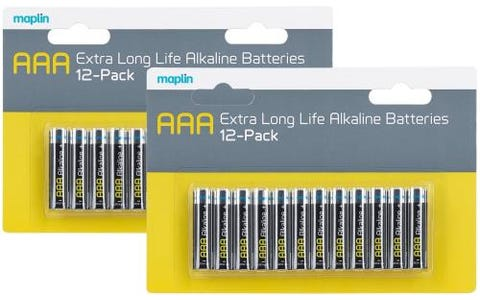 Maplin Extra Long Life High Performance Alkaline AAA Batteries x24 (2x 12 Pack)