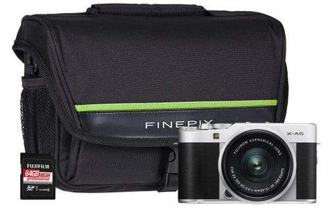 Fujifilm X-A5 Camera Kit including  XC 15-45mm Silver Lens, 64GB SD Card & System Bag - Silver
