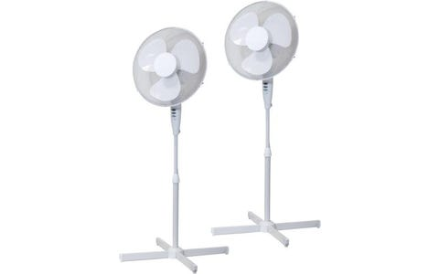 "Prem-i-air 16"" Oscillating Pedestal Fan with 3 Speed Settings - White, Twin Pack"