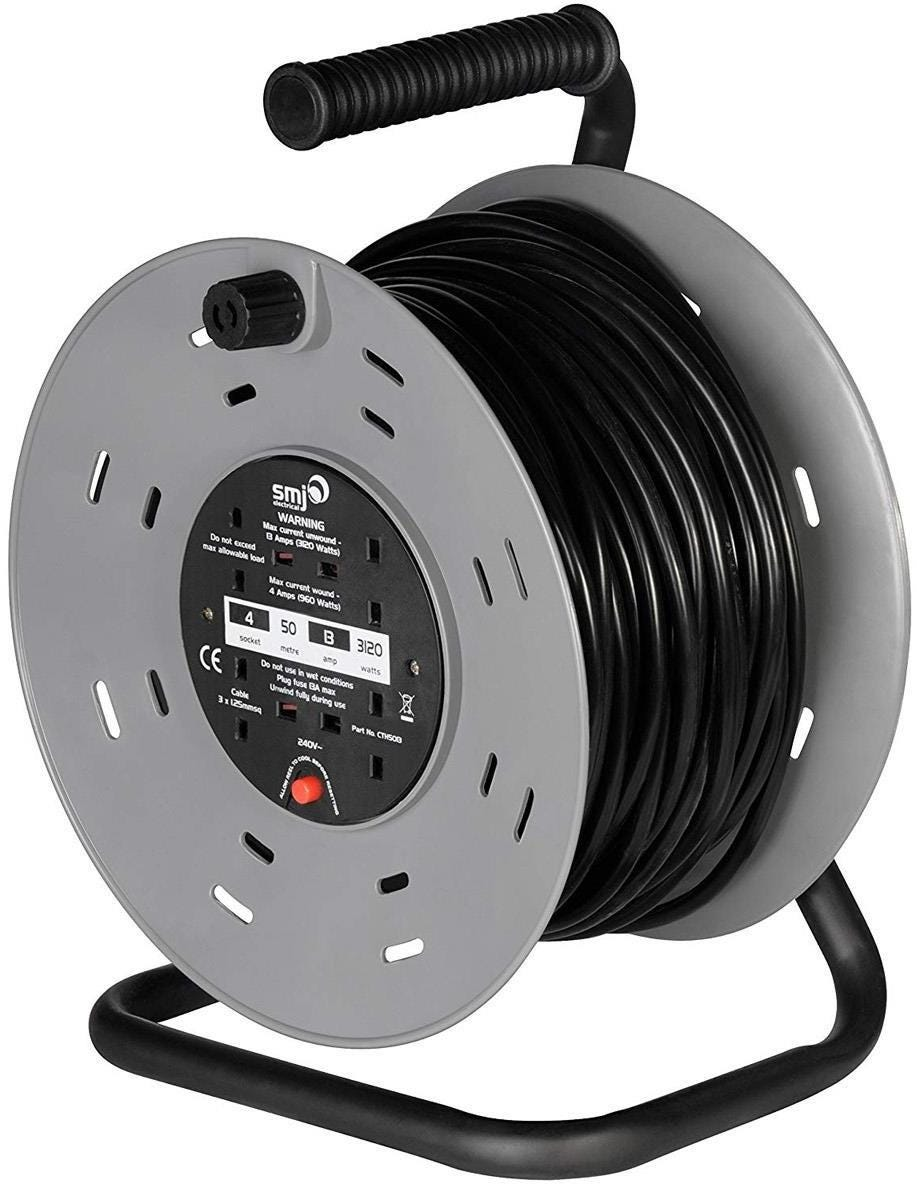 SMJ Electrical Heavy Duty 4-Socket Extension Cable Reel - 50m
