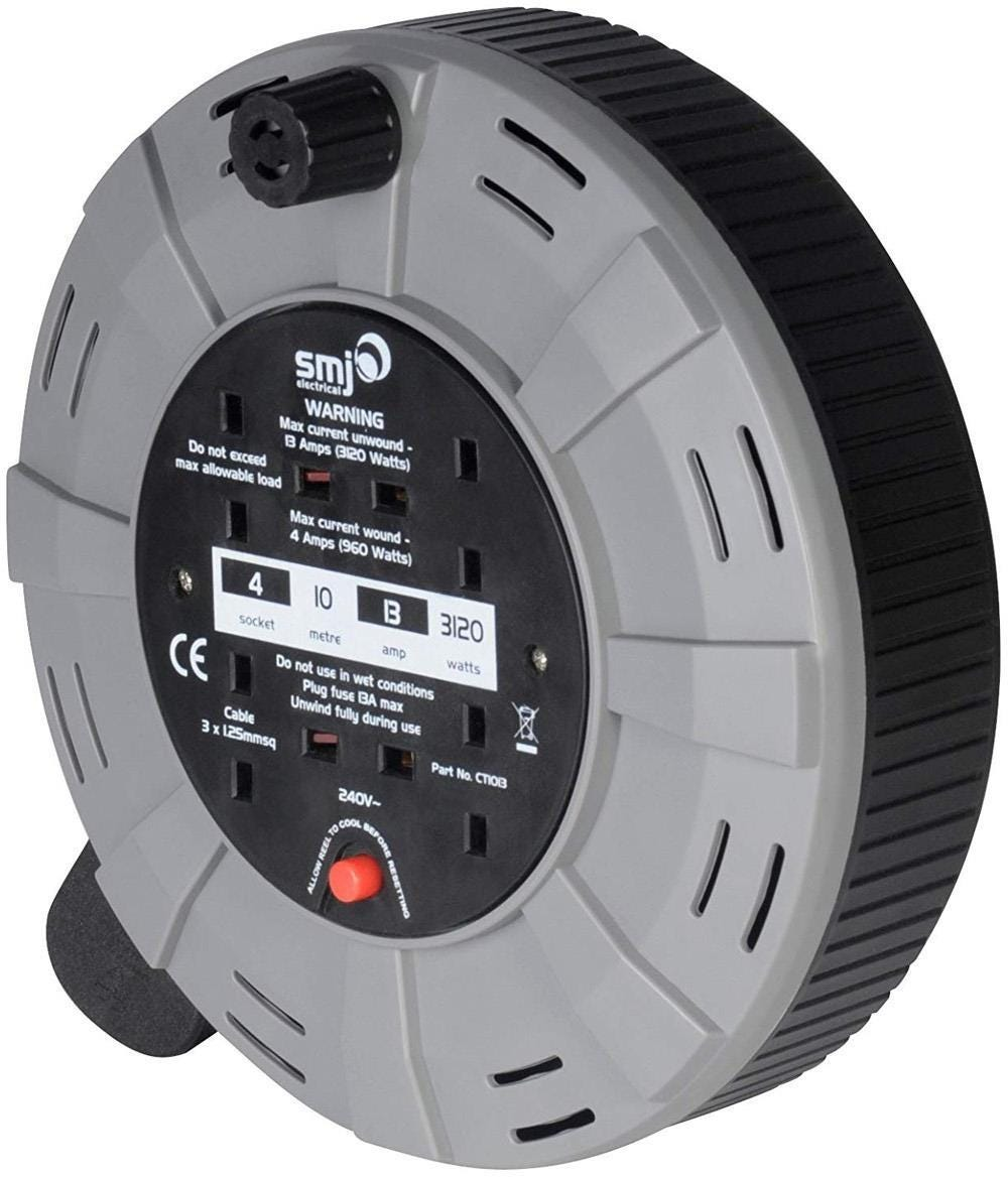 SMJ Electrical Easy Wind Compact 4-Socket Extension Cable Reel - 10m