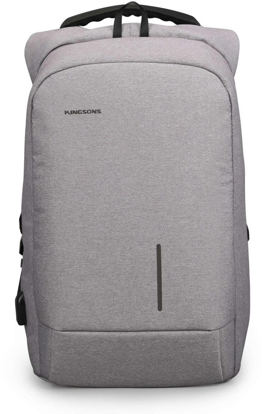 "Kingsons Anti Theft Smart USB Series 15.6"" Laptop Backpack - Light Grey"