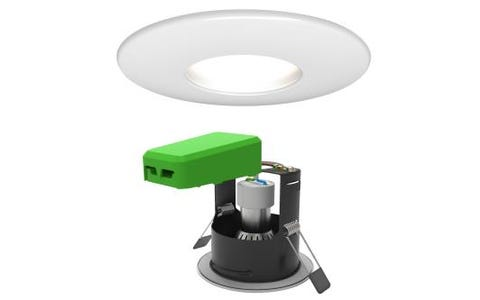 4lite Fire Rated GU10 Downlight (IP65) Matt White with separate Smart LED Wiz Connected Bulb