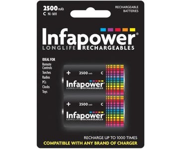 InfaPower C size Rechargeable Ni-MH 2500mAh Batteries