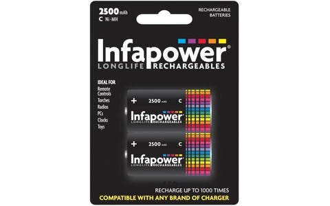 InfaPower Rechargeable Ni-MH C Batteries - Pack of 2