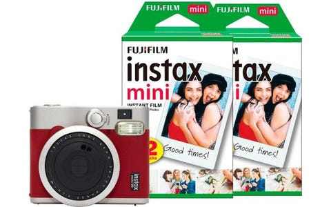 Fujifilm Instax Mini 90 Instant Camera Bundle including Case, Album & 50 Shots - Red