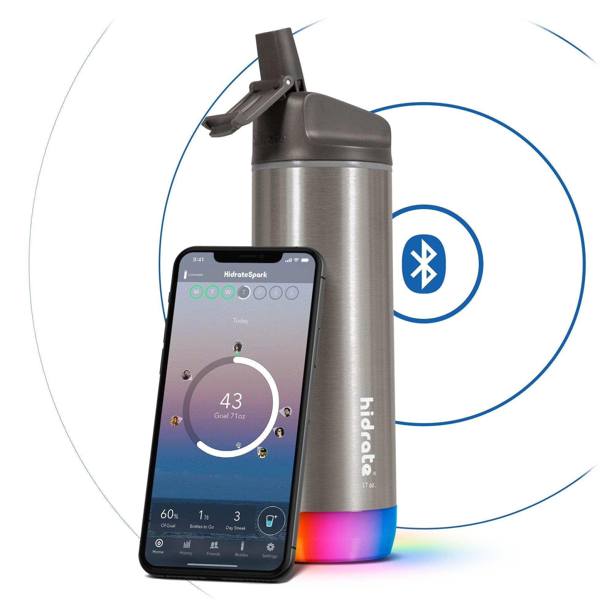 Hidrate Spark Steel Insulated Stainless Steel Bluetooth Smart Water Bottle Straw Lid (17oz) - Stainl