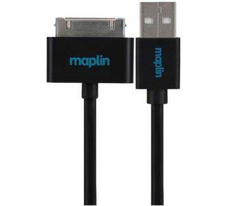 Maplin Premium 30 Pin for Samsung to USB A Male Cable (1.5m) - Black
