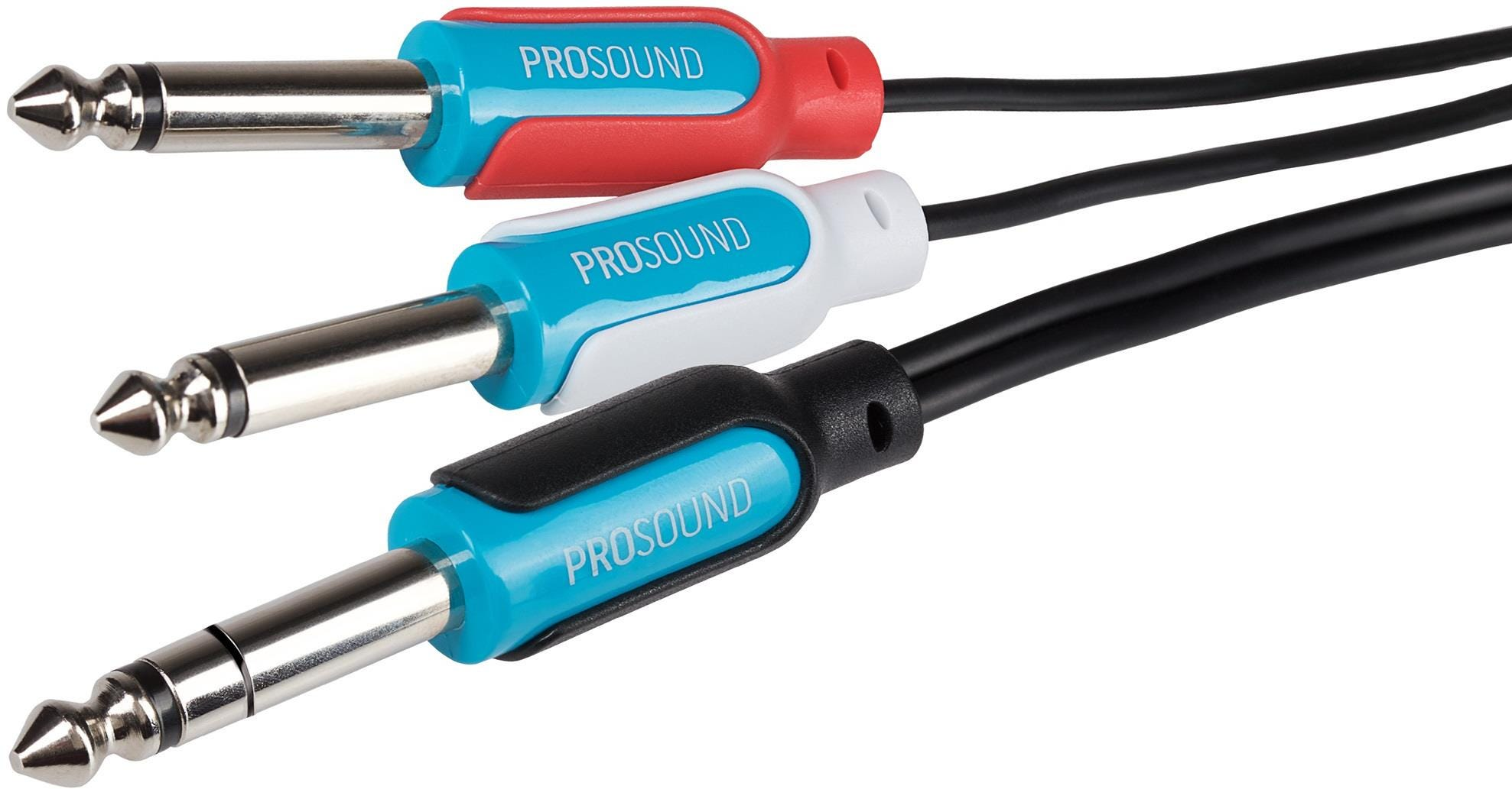 """ProSound Twin 1/4"""" Mono Jack to 1/4"""" Stereo Jack Cable - Black, 5m"""