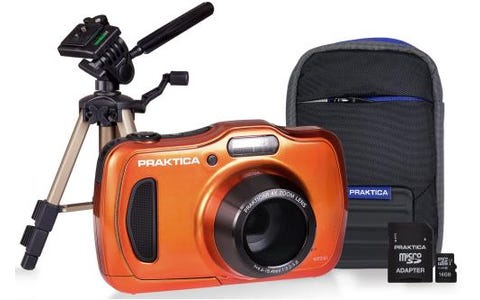 PRAKTICA Luxmedia WP240 Orange Camera Kit inc 16GB Card, Case & Desktop Tripod