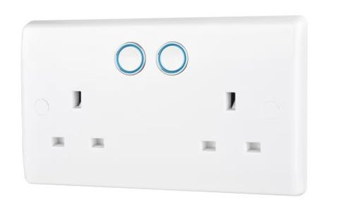 British General Slim Nexus Double Switched 13A Power Socket + Smart Home Control - White