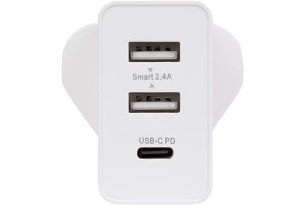 Maplin Triple Port AC Wall Charger 240V with 2 x USB-A & 1 x USB-C PD Power Delivery 30W