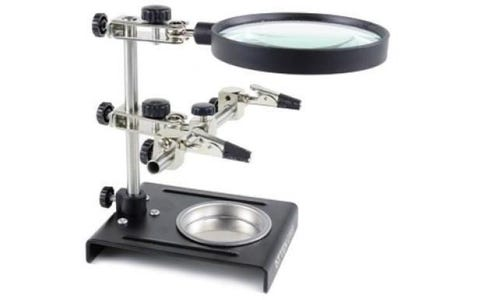 ATTEN Magnifying Lens Workstation with Dual Crocodile Clips