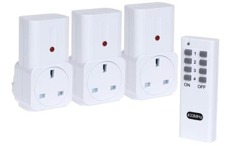 Maplin Remote Controlled Mains Plug Sockets Set (3 Pack) - White