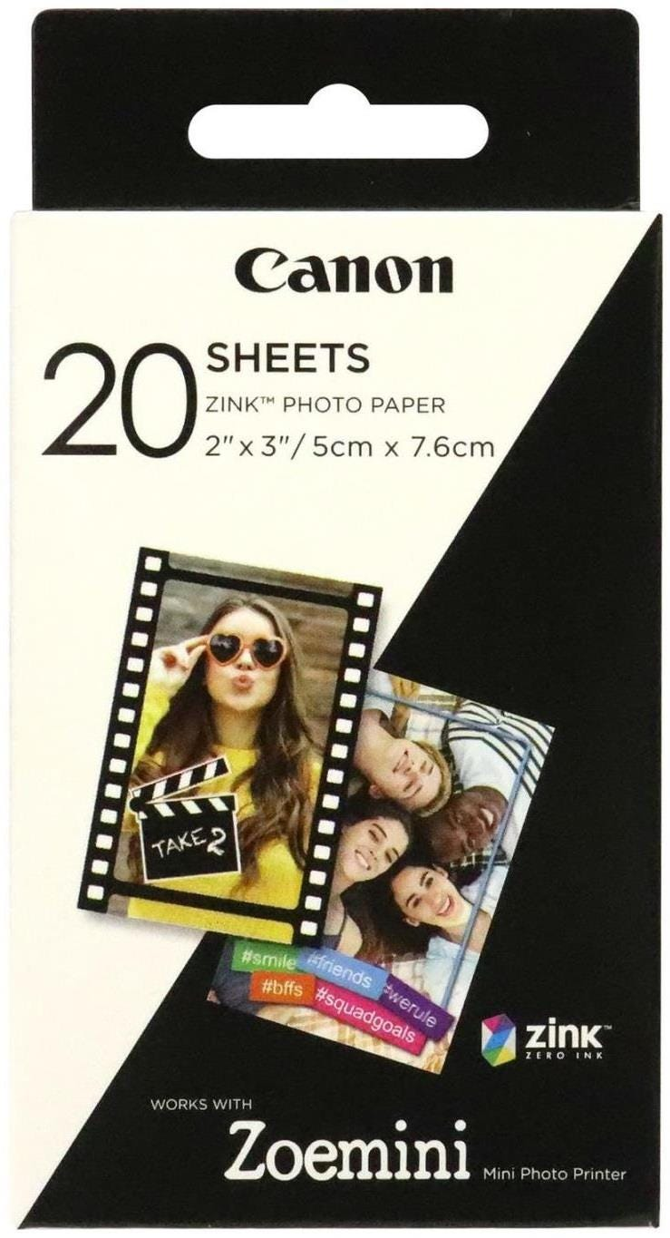 Canon Zoemini Zink Photo Paper 20 Sheet Pack