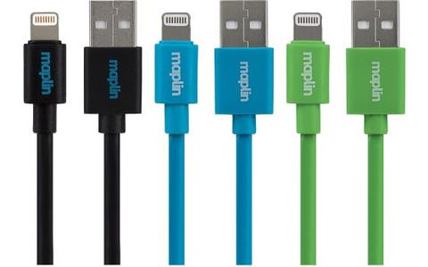 Maplin Premium Lightning iPhone Charge Cable (Pack of 3) (0.75m) - Blue, Green & Black