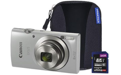 Canon IXUS 185 Camera Kit inc 32GB SD Card and Case - Silver