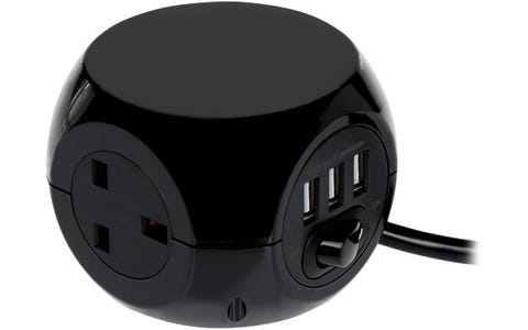 Status 3 Way Cube Design Power Adapter Plug (1.4m) Extension with 3x USB Outputs