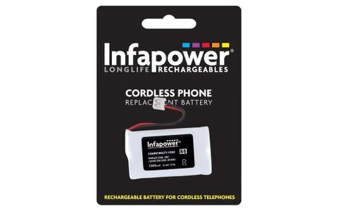 InfaPower Rechargeable Ni-MH Battery for Cordless Telephones (2x AA Pack)