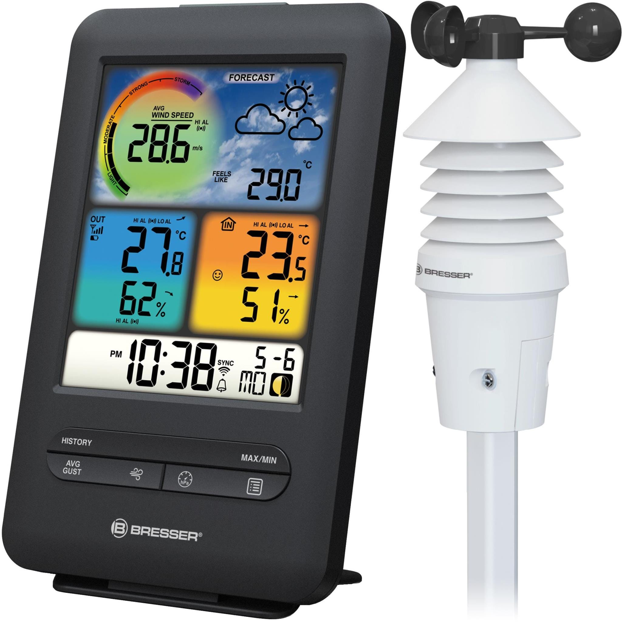 Bresser WiFi Colour Weather Station with 3-in-1 Wind Sensor