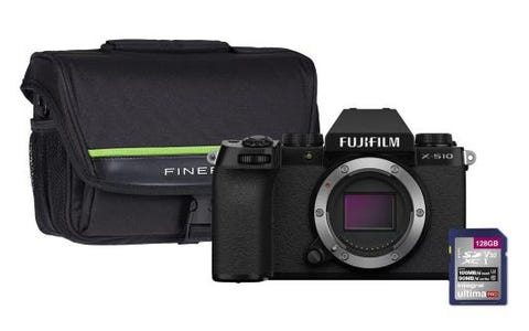 Fujifilm X-S10 Mirrorless Camera with 128GB SD Card & Case - Black, Body Only