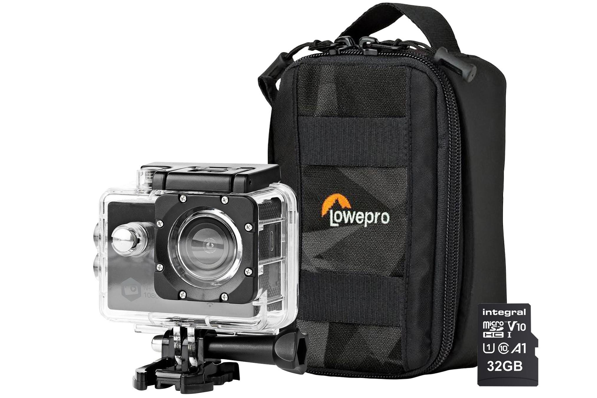 Nedis Full HD WiFi Action Cam inc Waterproof Case, Mounting Kits, LowePro Protective Bag    32GB Mic