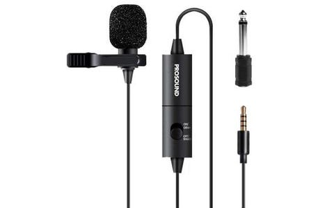 """ProSound Lavalier Lapel Omnidirectional 3.5mm 4 Pole Jack Microphone with 0.25"""" Adapter"""