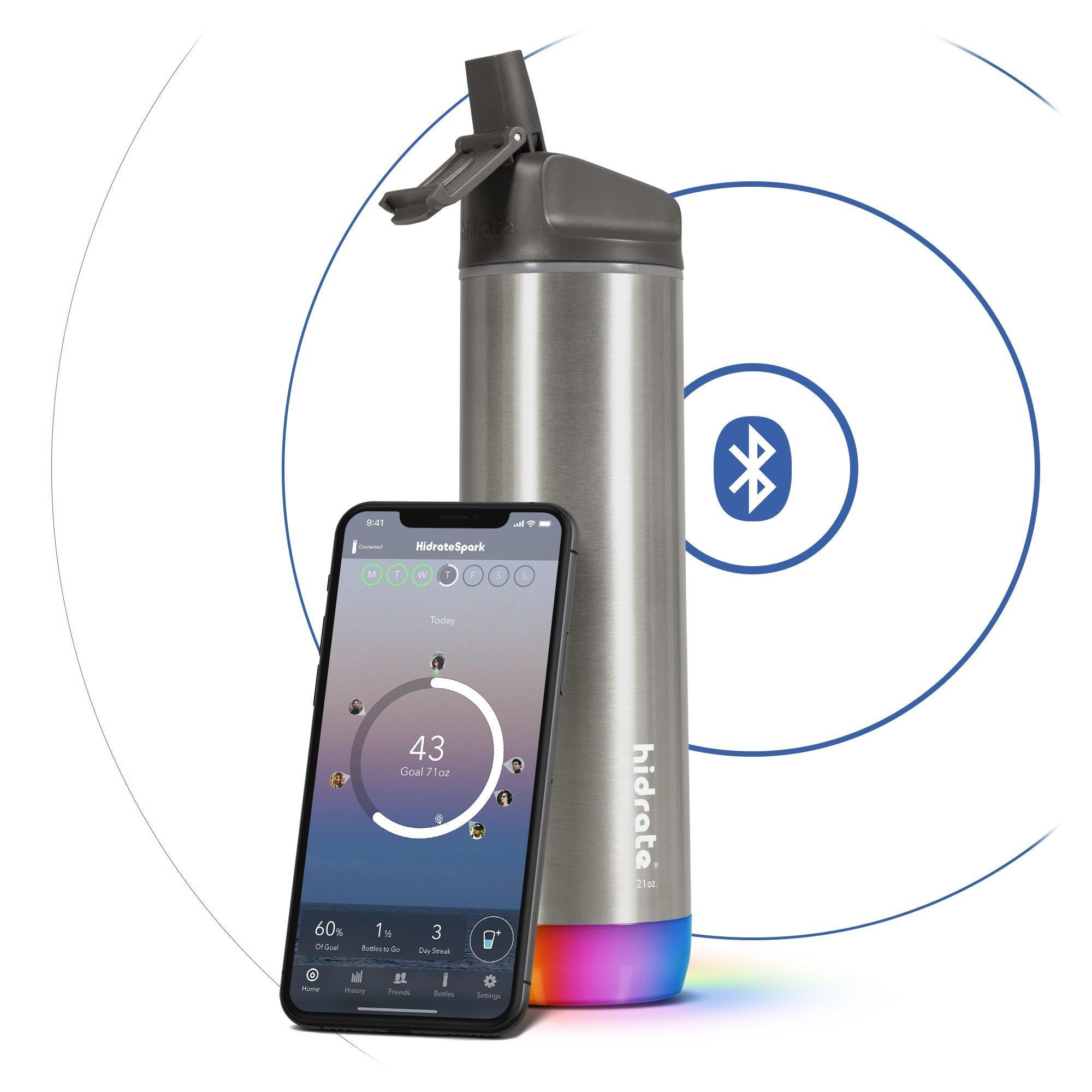 Hidrate Spark Steel Insulated Stainless Steel Bluetooth Smart Water Bottle Straw Lid (21oz) - Stainl