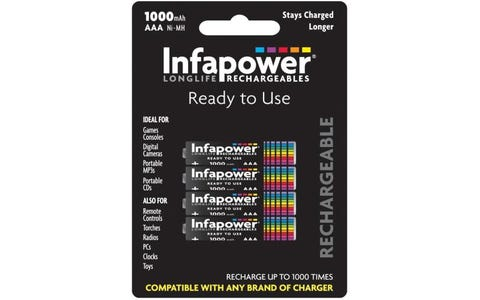 InfaPower Longlife Rechargeable Ni-MH AAA Batteries - Pack of 4