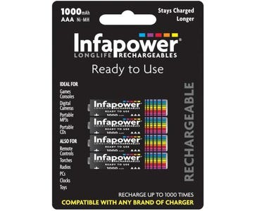 InfaPower Longlife 1000mAh Rechargeable Ni-MH AAA Battery (Pack of 4)